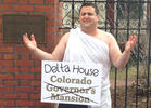 Toga, Toga! Protest at Colorado Gov's Mansion